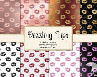 Dazzling Lips Digital Paper, glam lips backgrounds, makeup digital paper, cosmetics digital paper, kiss pattern, kisses valentine textures