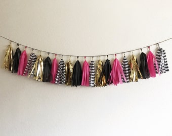 Pink, Gold, black, and Black and white Striped Tassel Garland | Tassel Banner | Bridal Shower Decor | Birthday Party Decor | Party Supplies