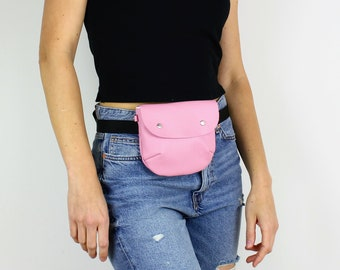 Pink Leather Fanny Pack / Travel Bag, Festival Bag, Leather Hip Bag, Belt Bag, Leather Waist Bag, Hip Bag, Leather Bum Bag, Leather Belt Bag