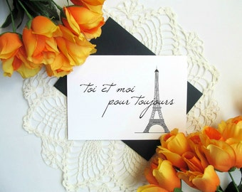 French Valentine's Day Card - You and Me Forever Eiffel Tower Romantic Card - Valentine's Day