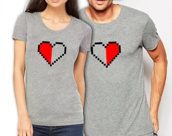 Player hearts/ Better half  funny matching t-shirt set, Pärchen couple, wedding, honey moon, anniversary gift