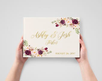Wedding Guest Book Burgundy Gold Wedding Guestbook Bohemian Floral Wedding Album Personalized Wedding Keepsake Book Rustic Wedding Journal