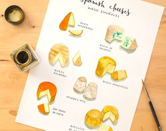 Cheese print, cheese art print, Kitchen wall art, Culinary art, cheese varieties, kitchen decor, food poster
