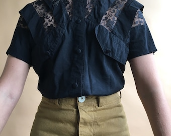 1980s black rayon and lace pleated blouse. Size small