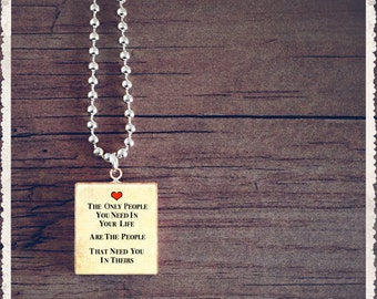 Scrabble Game Tile Jewelry - The Only People You Need- Scrabble Pendant Charm - Customize