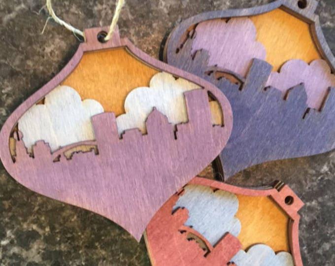 Custom Skyline - City Scape Ornament - Skyline Ornament - Your Town Ornament - Custom Ornament - Your City Ornament