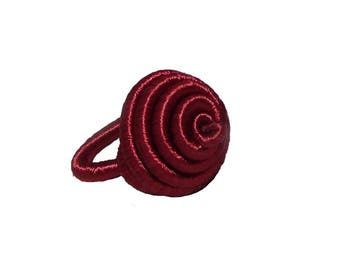 Women ring, spiral ring, Adjustable ring, colorful ring, ring, ethnic jewelry from recycled wire, Burgundy colors