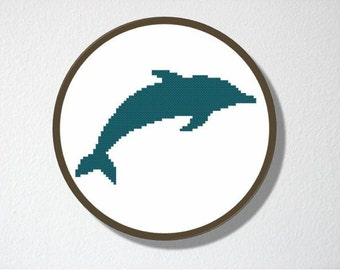 Counted Cross stitch Pattern PDF. Instant download. Dolphin Silhouette. Includes easy beginner instructions.