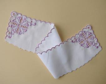 Fabric insert, 38 cm purple embroidered white cotton.