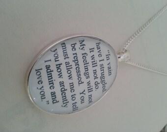 Pride and Prejudice Darcy and Elizabeth Proposal Necklace
