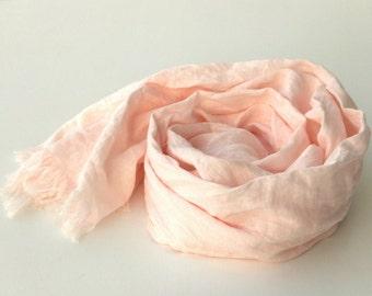 leichte rosa Leinen-Schal - blass rosa Wrap - extra lang - große