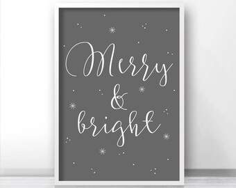 Christmas Print Merry And Bright, Printable Christmas Decor, Instant Download Christmas Art, Holiday Print Download, Grey Christmas Wall Art