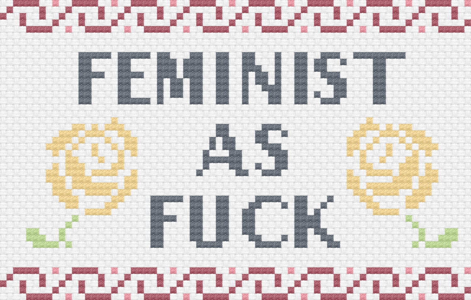 Feminist as fuck cross stitch pattern zoom nvjuhfo Image collections