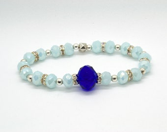 bracelet of (light)blue glass with sparkling silver