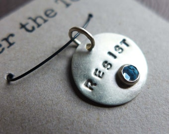 Rebel Resist Persist Nasty Sterling Silver Gemstone Charms, Resistance Jewelry, Anti Trump GOP Jewelry, Political Jewelry, Word Charms