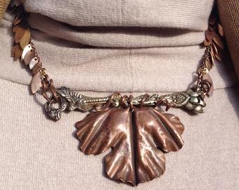 Fold-formed Copper Leaf Pendant on Cast Brass necklace