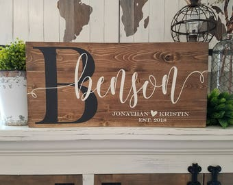 Wood Last name sign, Wood Family name sign, Custom wood sign, Personalized Wedding gift, Gallery Wall, Established sign, Rustic wood sign