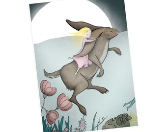 Hare greetings cards -  animals greetings card birthday christmas card girl alice - no wording blank