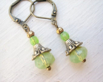 Opal glass earrings, Czech glass drops, green opal glass, lime green glass, green earrings, lemon lime glass, bronze drop, Czech green glass