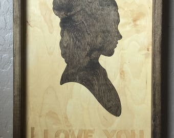 I Love You I Know 2 Piece Set. 11x14in Wooden Inlay