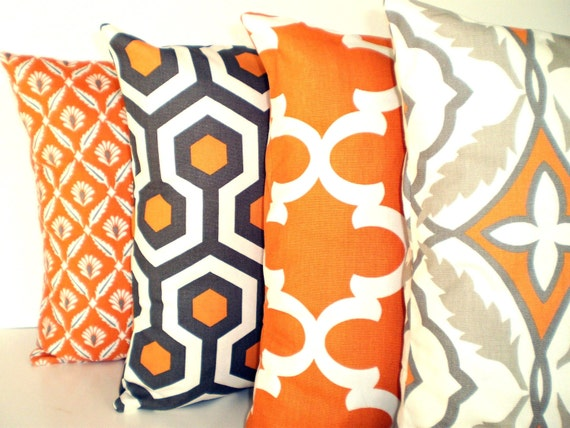 Orange Gray Pillow Covers Cushions Decorative Throw Pillows