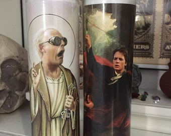 St Doc Brown Marty McFly Back to the Future Prayer Candles