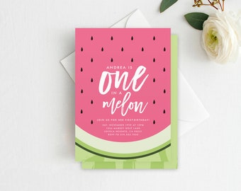 One in a Melon Invitation PRINTED First Birthday, Watermelon Invitation, Watermelon Birthday Invite, Watermelon Birthday Party, Watermelon