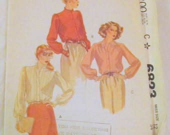 vintage McCALLS 6623-- Misses Blouses size 12--sewing pattern- 1979