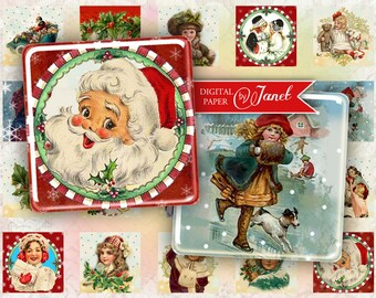 Happy Christmas - squares image - digital collage sheet - 1 x 1 inch - Printable Download