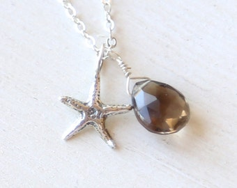 Sterling Silver Starfish and Smokey Topaz Necklace - simple everyday delicate jewelry