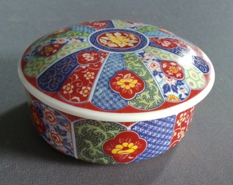 Round Porcelain Trinket Box With Lid, Asian Design, Made in Japan