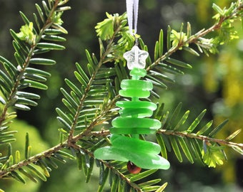 Genuine Sea Glass Delightful Tree Ornament Holiday Package Decor Stocking Stuffer Green and White Star Free Shipping Holiday Christmas Tree