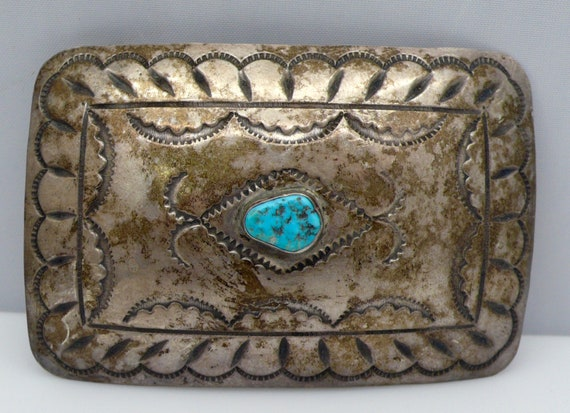 Vintage Native American Navajo Sterling Silver and Turquoise Belt Buckle by Albert Bighand