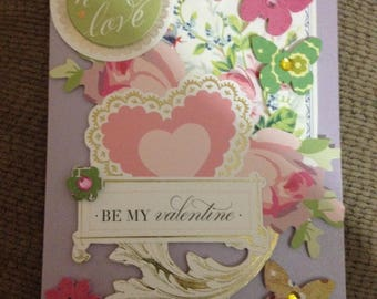 Hello Love Valentine Card/3D/Handmade/Pink & Green w/Lavender Background/Lots of Floral