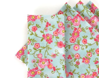 Large Cloth Napkins, Set of 4 - Flowers on Vines - Blue, Pink, and Green, Modern, 100% Cotton (100018)