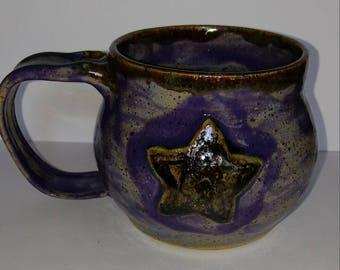 Star Mug Purple Handmade pottery