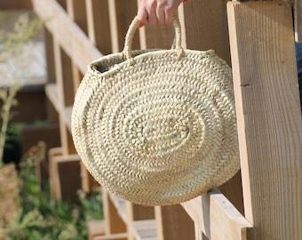 CÓRSEGA BASKET BAG, Straw Oval Bag/ Panier/ Cestino/Market Bag/ Cesta Redonda/Panier Rond/ Runder Strohbeutel/ beach bag/ capazo/ Korb