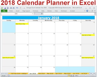 excel monthly calendar template 2018