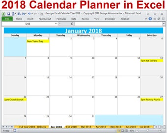 2018 Calendar Year Printable Excel Template - 2018 Monthly Calendars - 2018 Yearly Calendar - 2018 Planner Spreadsheet - Digital Download