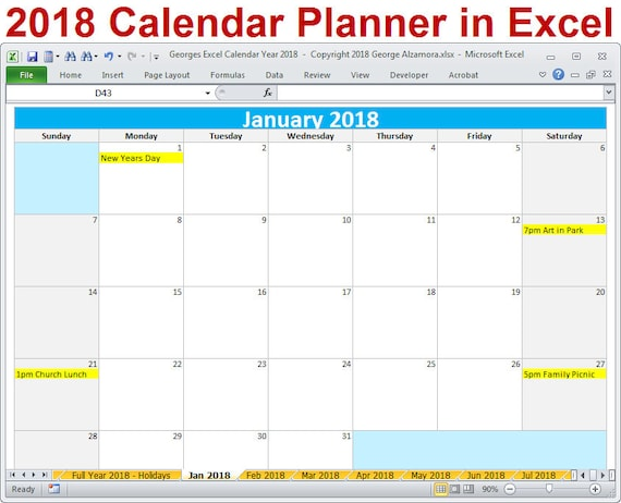 Calendar Editable Excel : Calendar year printable excel template monthly