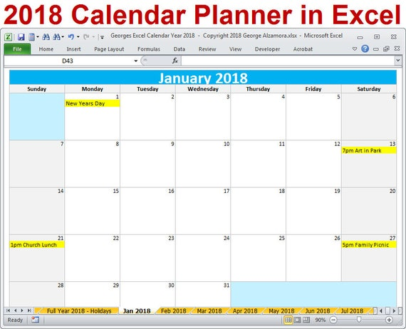 2018 calendar year printable excel template 2018 monthly. Black Bedroom Furniture Sets. Home Design Ideas