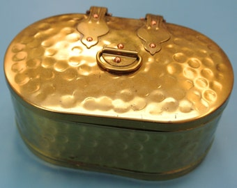 Swedish retro vintage 1960s oval brass suger-jar with lock and details made like the old ones the emigrants used