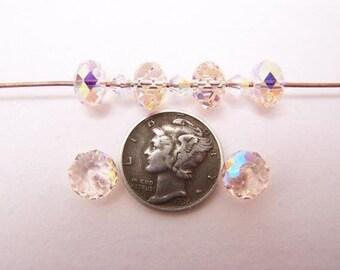 Swarovski 5040 Silk AB 8mm Briolette Crystal Rondelle Beads (6 pieces)