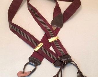 Suspenders British Vintage Trafalger Button Stripped Preppy English Braces