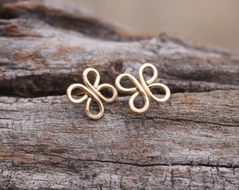 Gold Clover Posts, 14K Gold Fill, Brass, Wire, Earrings, Posts