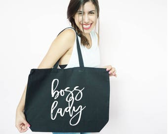 Boss Lady Canvas Tote, Bosses, Day, Boss Gift, Work Tote, Gym Tote, Mom Boss, Motherhood Tote, Bosses Day, Mom Gift, Entrepreneur Gift