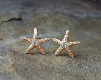 Aquamarine Earrings Aquamarine Studs March Birthstone Jewelry Aquamarine Stud Earrings Starfish Earrings Womens Gift 14K Gold Stud Earring