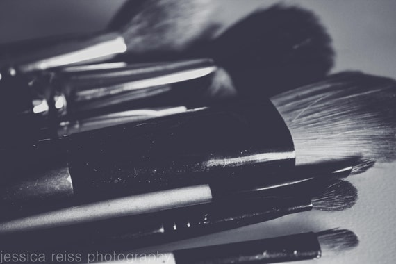 Black and white makeup brushes art print makeup girly