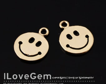 NP-1750 Gold Plated, Smile, Pendant, 2pcs