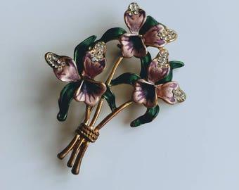 Vintage pansy bouquet brooch rhinestones